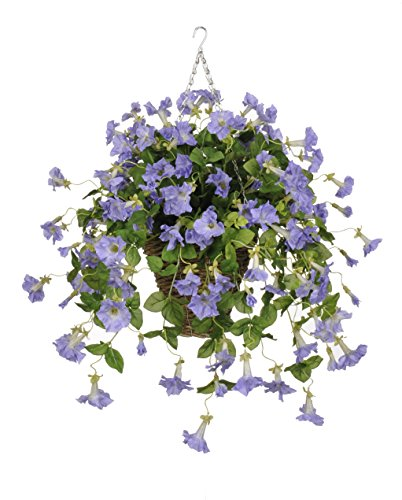 House of Silk Flowers Artificial Lavender Petunia in Square Hanging Basket