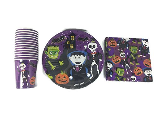 Dracula-Frankenstein-And-Skeltons-Oh-My-Disposable-Party-Supplies-Bundle-3-Items-Paper-Plates-Napkins-And-Cups-Serves-18