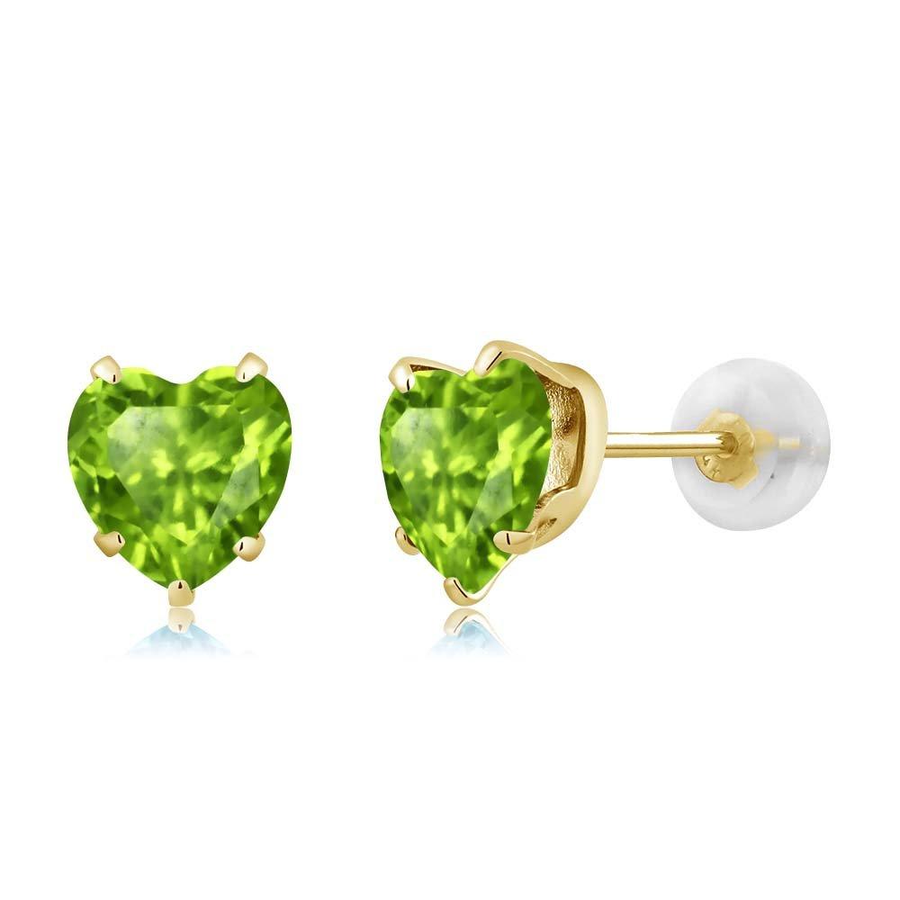 Gem Stone King 1.66 Ct Heart Shape 6mm Green Peridot 10K Yellow Gold Stud Earrings