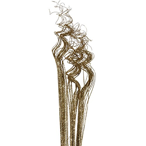 Gold Sparkle Glitter Curly Ting Ting Branches Vase Filler for Wedding, Holiday & Home Decoration by Royal Imports, 26