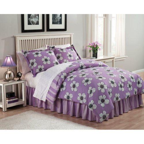 Jackie Kendall Lavender Flower Full Bed In Bag Purple Comforter Sheet Reversible