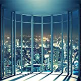 Leowefowa 7X7FT Business Office Room Backdrop French Window Skyscraper Backdrops for Photography Modern City Night View Vinyl Photo Background Kids Adults Studio Props