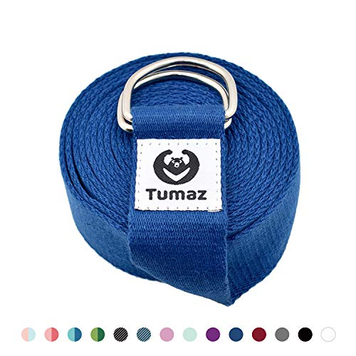 Tumaz Yoga Strap with Adjustable D-Ring Buckle (6ft/8ft/10ft, Many Stylish Colors) - Best for Daily Stretching, Yoga, Pilates, Physical Therapy, Fitness