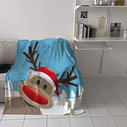 Khaki home Children's Blanket Lightweight Plush Throw Blanket (60 by 62 Inch,Christmas,Reindeer Rudolph with Red Nose and Santa Claus Hat Snowy Forest,Light Blue Red Light Brown