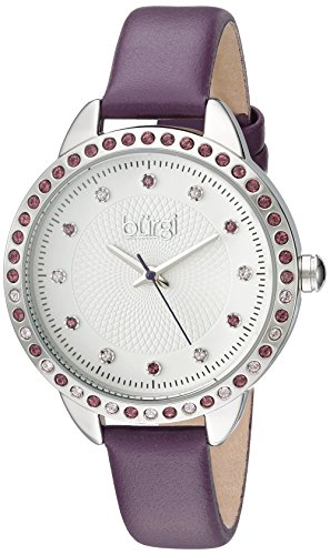 Bezel Silver White Leather (Burgi Women's Genuine Swarovski Crystal Accented White Dial and Silver-Tone Bezel with Purple Genuine Leather Strap Watch BUR161PU)