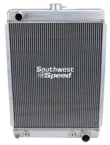 """NEW 27"""" ALUMINUM DOWNFLOW RADIATOR WITH BUILT-IN TRANSMISSION COOLER, DUAL CORE 2 ROW TIG WELDED, 19 11/16"""" X 27 1/2"""" 1900 TO MID-1960'S MEDIUM NOSE VEHICLES"""