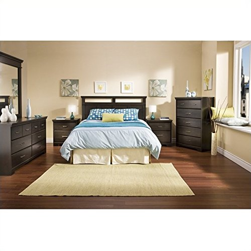 South Shore Versa Wood Panel Headboard 4 Piece Bedroom Set in Black Ebony - bedroomdesign.us