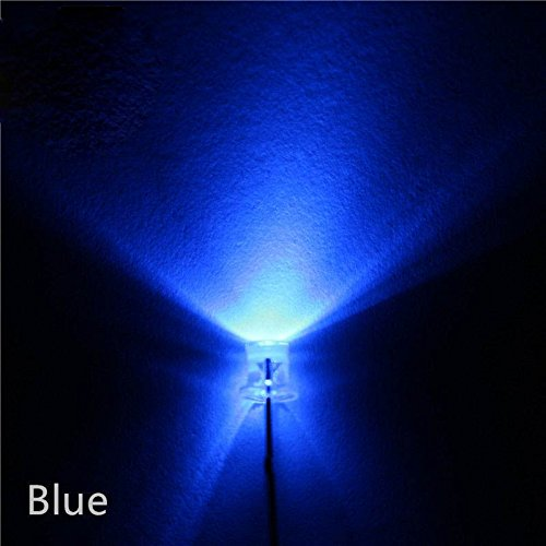 ucomshop 5mm Flat Top led Ultra Bright light water clear Beam angle of 120°Blue Pack of 50