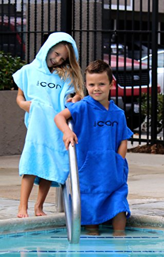 COR Childrens Poncho Towel Robe Light and Dark Blue for Ages 3-10 (Light Blue) by COR Board Racks (Image #2)
