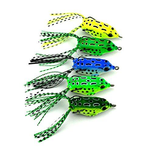 Tulas 5 Pcs 5.5cm Soft Tube Bait Frog Topwater Fishing Lure Crankbait Hooks Bass Artificial Tackles