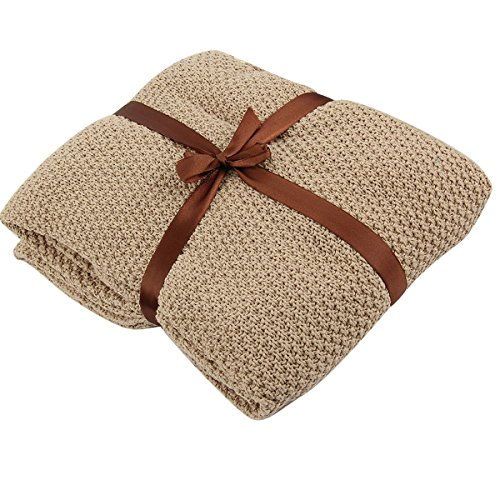 Newborn Infant Toddler Thermal Warm Knit Blanket Baby Crib Cot Soft Sleeping Swaddle (Khaki)