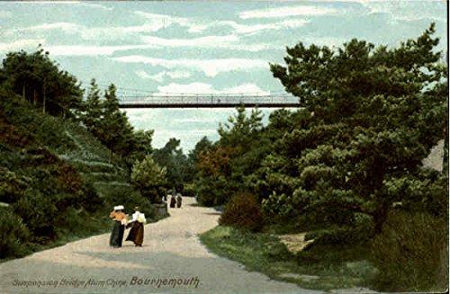 Alum Suspension - Suspension Bridge Alum Chine Bouremouth, England Original Vintage Postcard