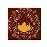 Circle Orange Castle Islam Muslim Anti-slip Floor Pet Mat Square Home Kitchen Door 80cm Gift