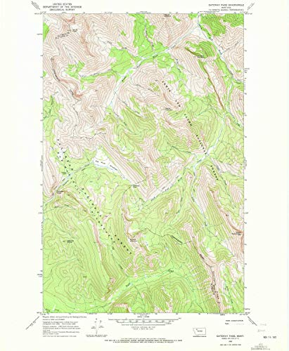 (YellowMaps Gateway Pass MT topo map, 1:24000 Scale, 7.5 X 7.5 Minute, Historical, 1968, Updated 1972, 26.8 x 22 in - Paper)
