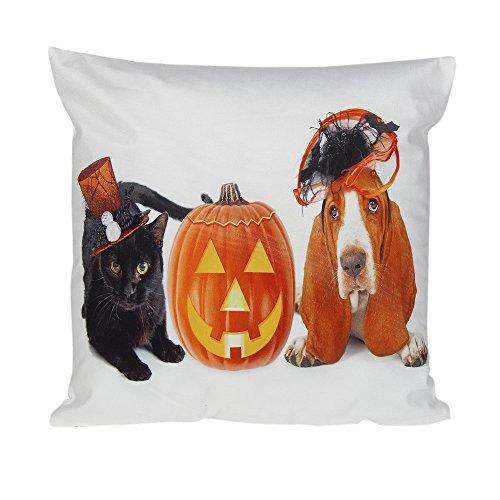 Throw Pillow Covers Case Decorative Farmhouse Cotton Linen Pumpkin Halloween House Decor Outdoor Cushion for Couch Sofa Bed (K, 18
