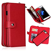 iPhone 8 Plus Case, Lichee Pattern 2-in-1 Split Magnetic Suction Leather Sheath Zipper Wallet Hand Bag Protective Cover for iPhone 8 Plus (Red)