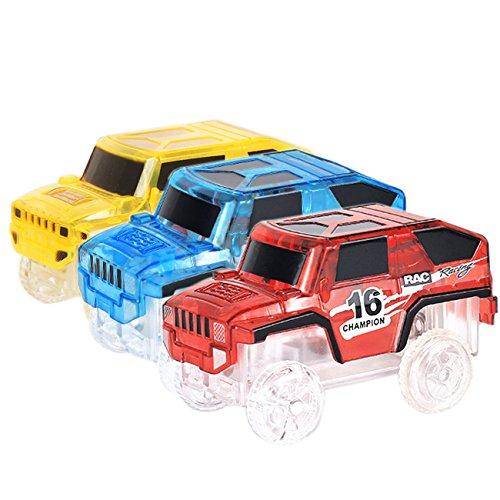 Track Racing Car Toy 3 pcs Truck with LED Lights Glow in the Dark Compatible with Most of Tracks for Boys and Girls Blue Red and Yellow (Track For Trucks)