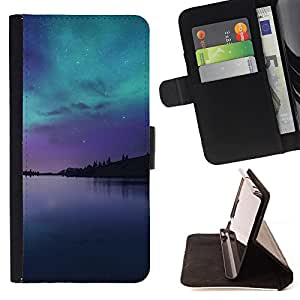 King Air - Premium PU Leather Wallet Case with Card Slots, Cash Compartment and Detachable Wrist Strap FOR LG G3 LG-F400 D802 D855 D857 D858 - Space Night Nebula
