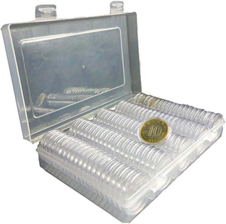 NAKELUCY M/ünzspeicher Sammlung M/ünzkapseln Runde M/ünzhalter Fall Mit Gedenkm/ünzen Schutzboxen M/ünzsammelbox F/ür 27mm F/ür 100 St/ücke