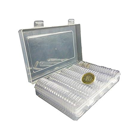 Morningtime Caja De Almacenamiento De Monedas CÁPsulas para Monedas(100Unidades) para ColecciÓN De Monedas De 27MM Redondo para Monedas Portamonedas ...
