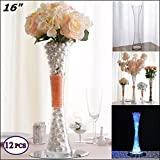 Efavormart 16'' Tall Clear Hourglass Shaped Floral Vase Wedding Party Decoration - 12 PCS