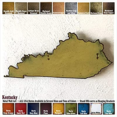 """Kentucky metal wall art - Choose 11"""", 17"""" or 23"""" wide - Handmade - Choose your patina color and Any USA State"""