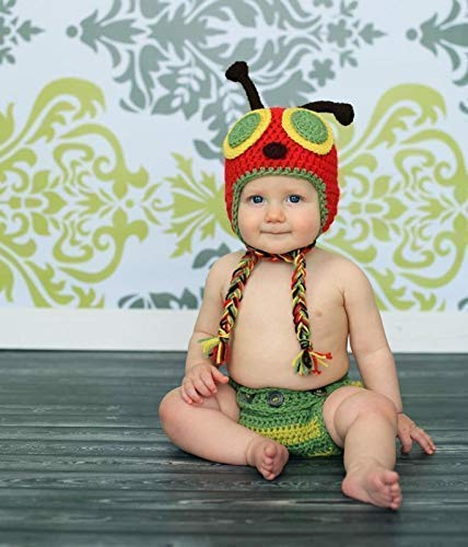 Crochet Baby Caterpillar Hat and Diaper Cover or Leg Warmer Set - Baby Photo Prop - Baby Shower Gift - Available in 0 to 24 -