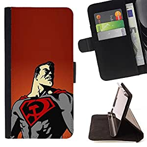 - Superhero Flying Cape Art Poster Drawing/ Personalized Design Custom Style PU Leather Case Wallet Flip Stand - Cao - For LG Volt 2 / LG G4 Mini (G4c)