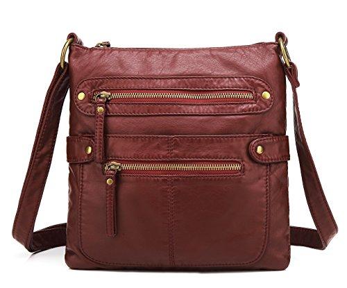 Scarleton Small Crossbody Shoulder Bag for Women, Ultra Soft Washed Vegan Leather, Burgundy, H182020