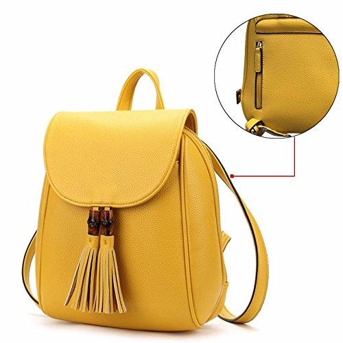Nueva moda bolso de hombro Doble viento Colegio ocio mochila Tassel mochila,Amarillo Amarillo