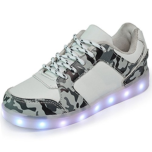 Price comparison product image Kids Light up Shoes USB Charging LED Shoes Camouflage luminous shoes Flashing Sneakers for Boys Girls (White2 4 M US Big Kid)