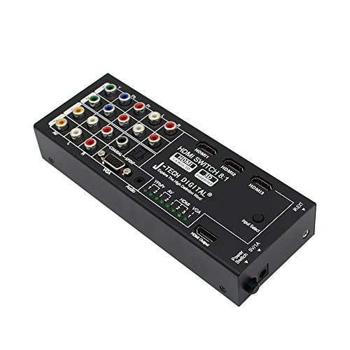 J-Tech Digital Latest Generation Multi-Functional HDMI Audio Extractor with 8 Inputs to 1 HDMI Output with Optical / Coaxial 5.1 Channel Support 3D & Surround Sound by J-Tech Digital (Image #1)