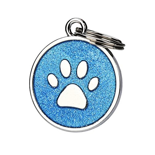 Pet ID Tag, OOEOO Personalised Engraved Glitter Paw Print Tag Dog Cat Pup Identification Reflective (Blue, Free Size) ()
