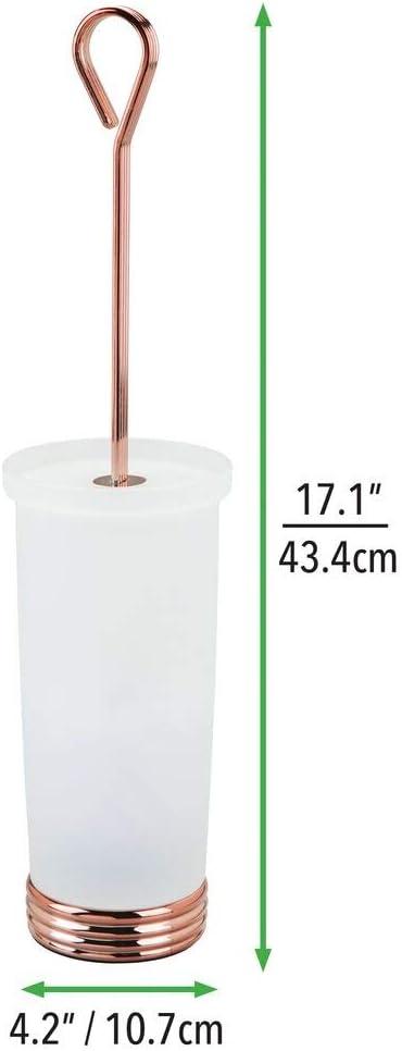 Portaescobilla Fabricado en Duradero pl/ástico y Metal Blanco//Dorado Rojizo Moderna escobilla de ba/ño mDesign Escobillero