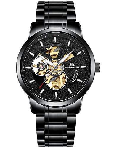 0df8cc1032 [メガリス]MEGALITH 腕時計メンズ 自動巻時計ステンレス スケルトン紳士機械式(手