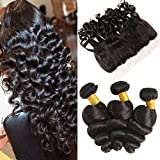 Bleaching Hair Makes It Thicker - Huarisi Loose Wave Bundles with Ear To Ear Closure Peruvian Virgin Human Hair Wavy Hair Extensions with Lace Frontal Bleached Knots and Baby Hair Free Part Natural Color You Can Style 20 22 24 +18
