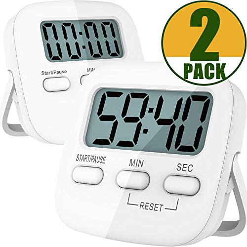 Kitchen Timer, 2 Pack Digital Kitchen Timer Magnetic Countdown Stopwatch Timer With Loud Alarm, Big Digit, Back Stand, Hanging Hole for Cooking, Shower, Bathroom, Kids, Teacher - AAA Battery -