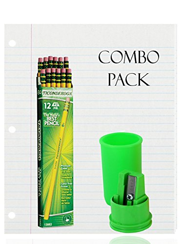 Filler Paper, Loose Leaf Paper, Wide Ruled Paper, 200 Sheets - Dixon Ticonderoga Wood-Cased Pencils, 2 HB, Yellow, Box of 12 - Container Pencil Sharpener 1 hole - Combo Pack - (12 Pencils) by Top Quality Value Packs