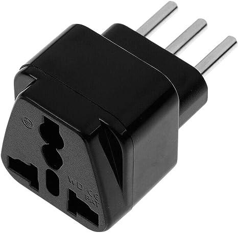 OcioDual Enchufe Conector Adaptador Universal Negro de Americano USA Inglés UK Europeo EU a Italia Italiano ITA 3 Pin Tipo L: Amazon.es: Electrónica