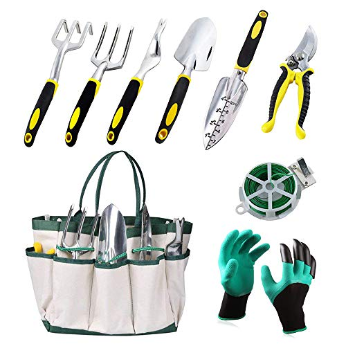 KEDA Garden Tool Set, 9 PCS gardening Tool Set for Digging Planting with Storage Organizer Tote, Garden Gloves Shove, Plant Tie, Ergonomic Gardening Gifts Tool Set for Women Men Adults