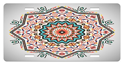 Iliogine Tribal Abstract Aztec Style Kaleidoscope Themed Boho Ethnic Sun Pattern Art Print Coral Turquoise Funny Metal License Plate Frame Aluminum Frame Tag Holder ()