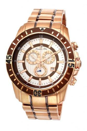 Grand Prix Noir Stainless Steel Rose Tone & Brown Men's Diamond Watch 092CGPS ()