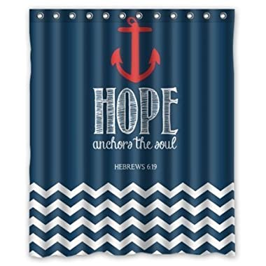 Fashion Navy Chevron & Hope Anchor The Soul HEBREWS 6:19 Waterproof Bathroom Fabric Shower Curtain decor 60  x 72