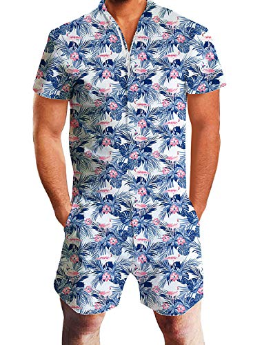 Leapparel Men Printed One Piece Jumpsuit Zip Short Sleeve Pants Rompers Overalls (M, Flower&Flamingo)