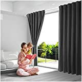 dark grey curtains 90 x 90 Blackout Curtains Thermal Insulated Drapes, Room Darkening Rod Pocket and  Energy Efficiency Window Curtains for Bedroom (W 52