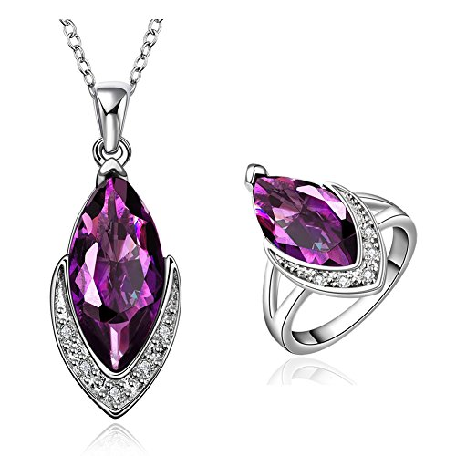 Amethyst Jewelry Sets Crystal Teardrop Statement Pendant Necklace & Stud Earrings & Band Rings V CZ Edge