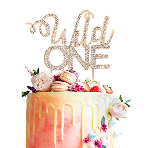 Wild One Gold Crystal Metal Rhinestone Cake Topper Welcome Little Boy Girl Baby Shower 1st Birthday Tribal Party Decorations Supplies - Gold Rhinestone