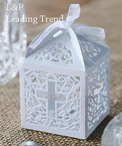 Cross cutout baptism communion christening Die cut Favor Boxes (12pcs) by Charmed