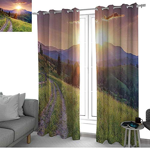 (NUOMANAN Curtains 84 inch Length Nature,Sunset in The Mountain Landscape Rural Road Forest Countryside Wonderland Print Deco,Multi,Modern Farmhouse Country Curtains)