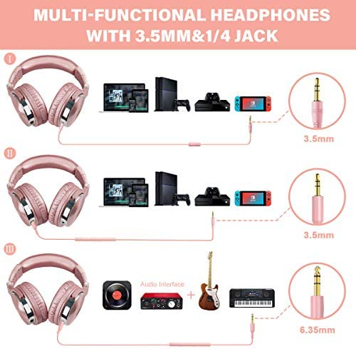 OneOdio Over Ear Headphones for Women and Girls, Wired Bass Stereo Sound Headsets with Share Port and 50mm Driver Rose Gold Headsets with Mic for PC Phone Laptop Guitar Piano Mp3/4 Tablet (Pink)